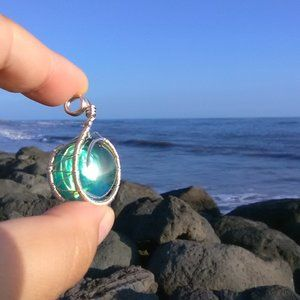 Silver Wrapped Emerald Green Necklace